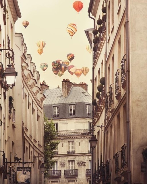 Paris Photograph, Hot Air Balloons Over Street by Eye Poetry Photography contemporary-artwork