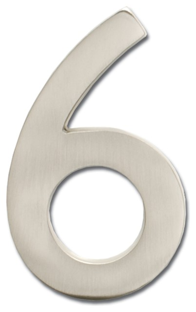 "5"" Floating House Number Satin Nickel ""6"" contemporary-house-numbers"