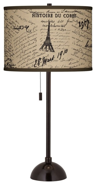 Letters to Paris Linen Giclee Glow Bronze Club Table Lamp Farmhouse Table