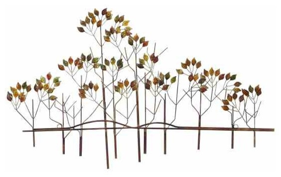 Natural branches metal wall sculpture contemporary for Kitchen cabinets lowes with metal tree branch wall art