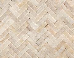 Honey Onyx Tumbled Herringbone Natural Stone Mosaic contemporary-tile
