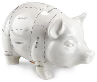 Budget Cuts White Ceramic Piggy Bank Contemporary
