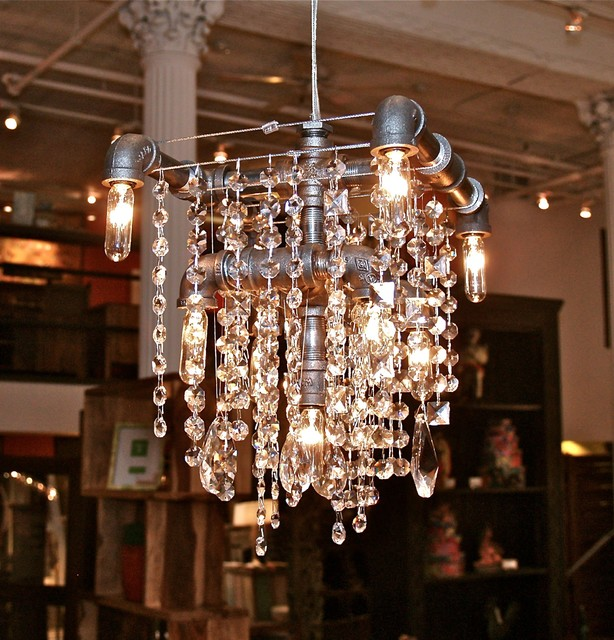 Mchale industrial style chandelier from nyc Industrial style chandeliers