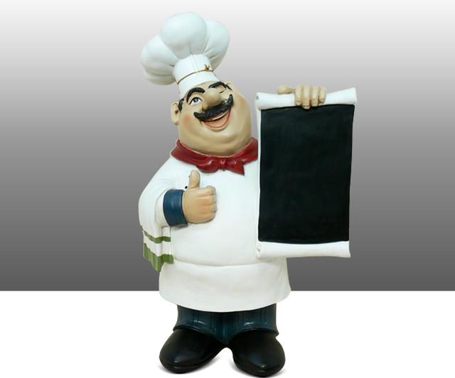 Fat Chef Kitchen Statue Figure Holding Menu Board Table