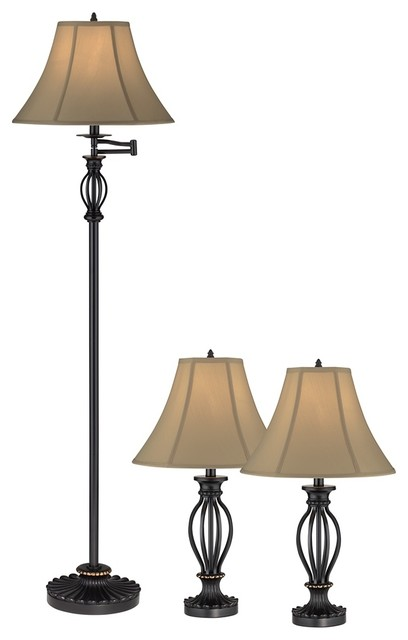 set of 3 black iron cage floor and table lamps traditional lamp sets. Black Bedroom Furniture Sets. Home Design Ideas