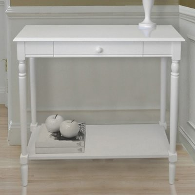 Convenience Concepts French Country Hall Table with Drawer and Shelf - White modern-bar-tables