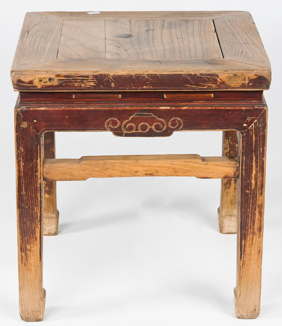Antique chinese square stool or low table asian side for Square coffee table with stools