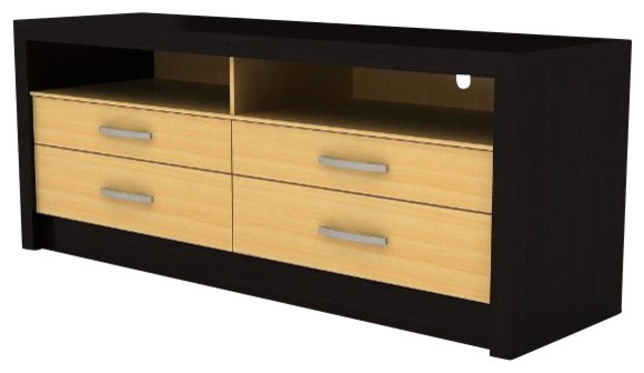 maple and espresso finish wood media center tv stand with. Black Bedroom Furniture Sets. Home Design Ideas