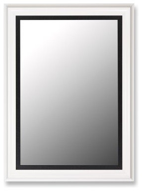 Glossy White Petite and Executive Black Wall Mirror modern-bathroom-mirrors