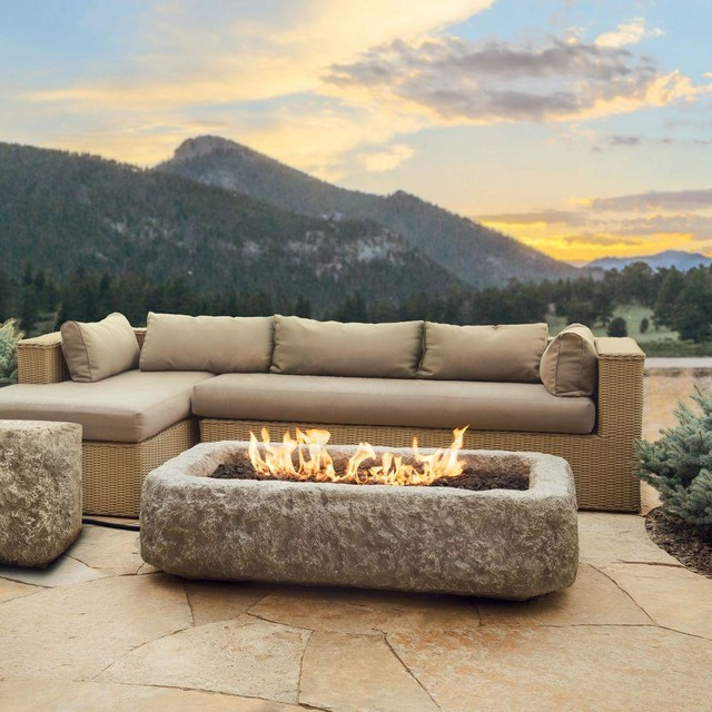 Real Flame Outdoor Fire Pits Antique Stone 59 In