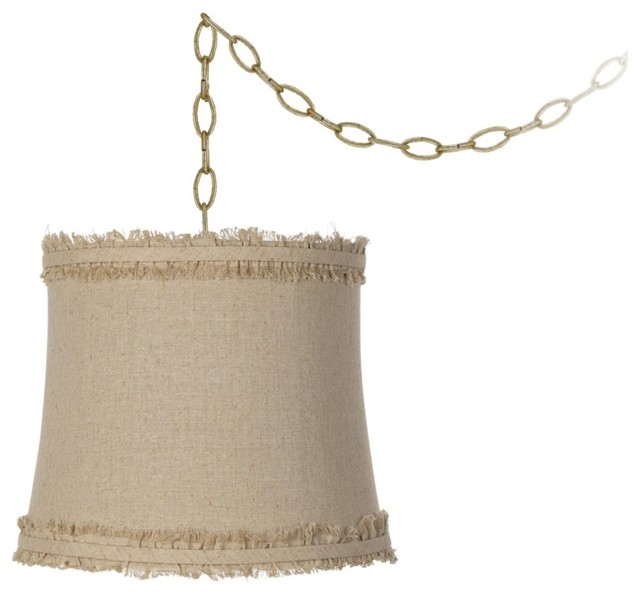 """Traditional Raw Edge Linen 14"""" Wide Antique Brass Swag Chandelier traditional-pendant-lighting"""