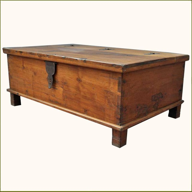 Appalachian Rustic Teak Hinged Top Coffee Table Chest Traditional Coffee Tables Austin