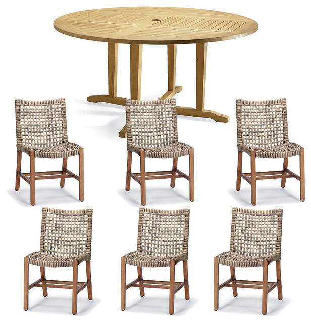 pc round outdoor dining set patio furniture traditional dining
