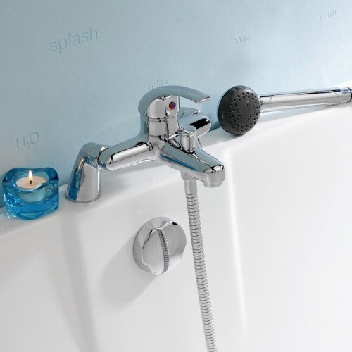 chrome deck mounted tub shower bath mixer faucet handheld sprayer