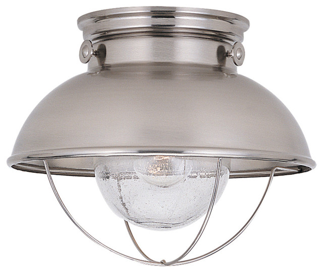 Sea Gull Lighting Sebring Brushed Steel Outdoor Ceiling Fixture Contemporar