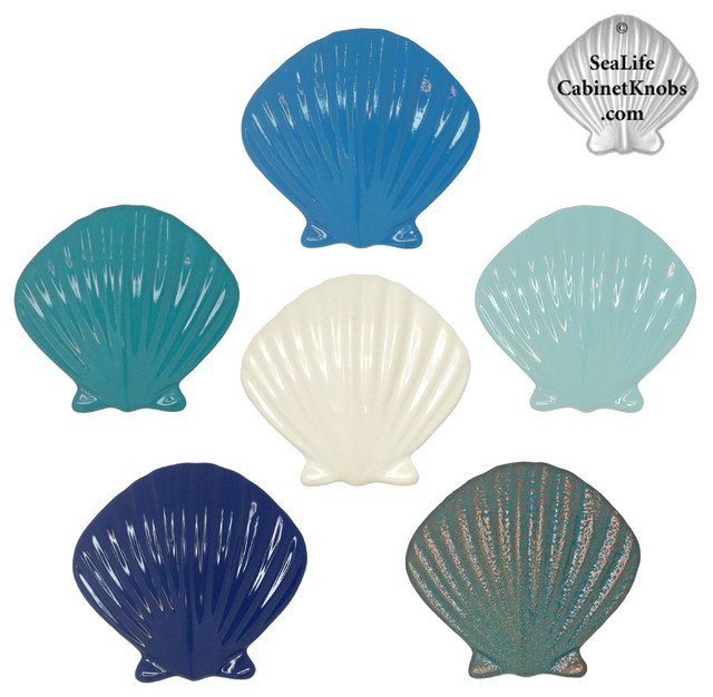 Scallop Shell Cabinet and Drawer Knobs - Beach Style - orlando - by Sea Life Cabinet Knobs by ...