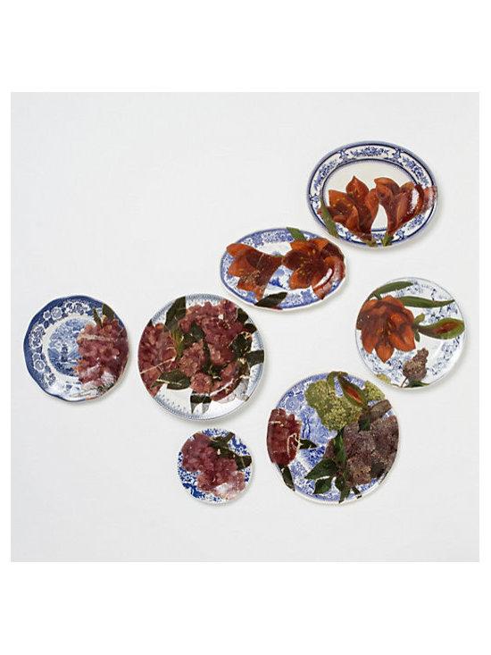 Triple-Floral Plates, Decoupage, Set of 7 -