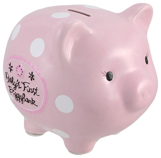 Pink Baby 39 S First Piggy Bank Ceramic Coin Bank 8 In