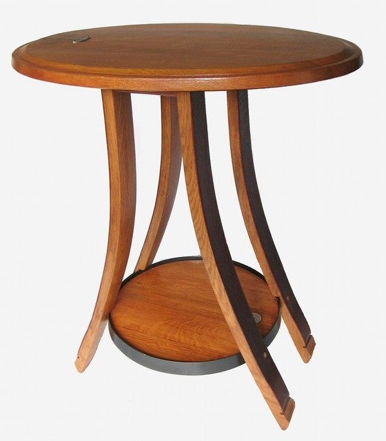 Cricket Oval Recycled Oak Wine Barrel Side Table 4 Legs