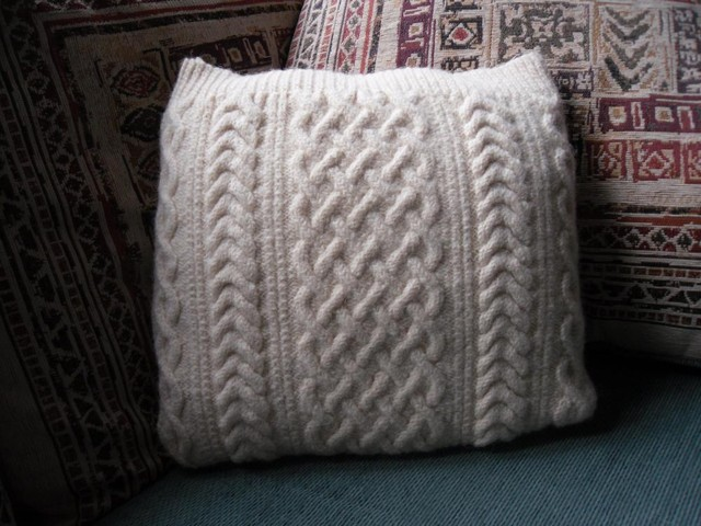 Small Cream Cushion / Pillow Throw . Knit in 100% wool cable cover with dark ...
