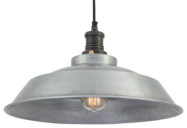 Brooklyn Vintage Step Metal Lamp shade - Dark Grey Pewter - 16 inch ...