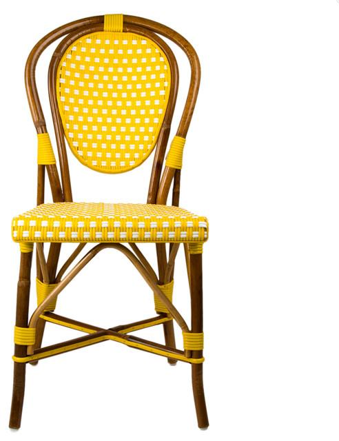 Yellow Amp White Mediterranean Bistro Chair Mediterranean