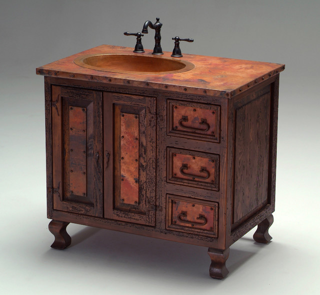 old world copper vanity mediterranean bathroom