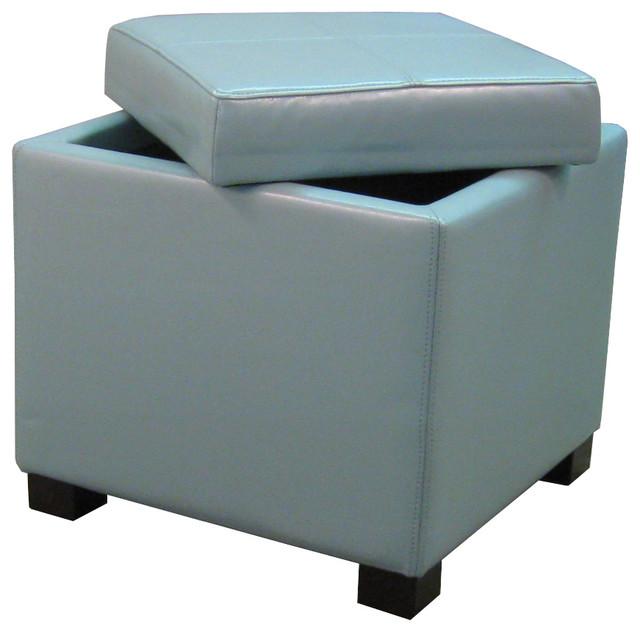 Venzia Bonded Leather Square Ottoman Blue Modern