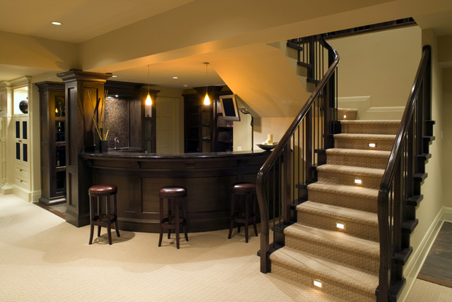 Bar Area In Home Traditional Basement By