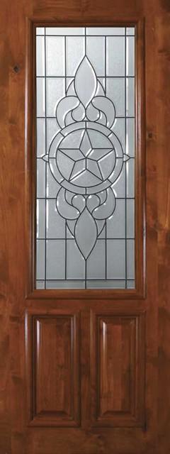Slab exterior single door 96 wood alder brazos 2 panel 2 3 for Single front doors with glass