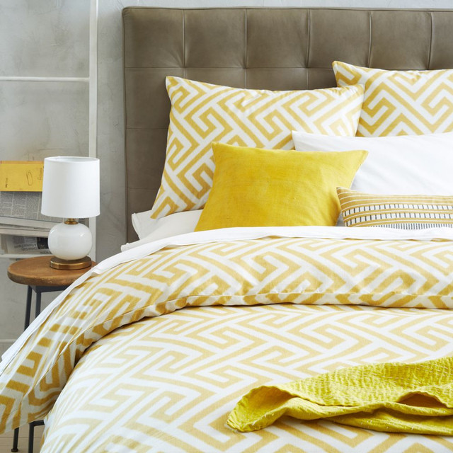 Organic Ikat Key Duvet Cover + Pillowcases - Horseradish ...