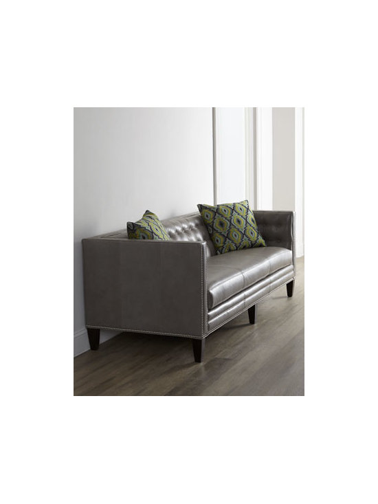 """Massoud - Massoud """"Dove"""" Leather Sofa - Handsome leather sofa offers clean lines enhanced by tufting and nailhead trim for a look that is modern, contemporary, and classic all at the same time. Frame made of furniture grade hardwoods. Leather upholstery. Decorative pillows covered in rayo..."""