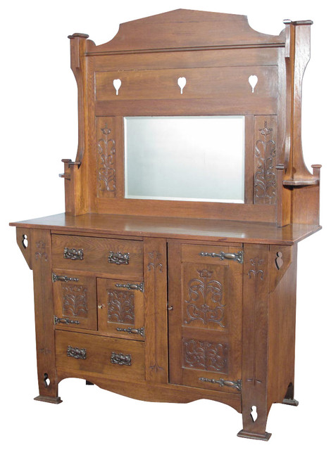 Consigned Antique Oak Arts & Crafts Mirrorback Buffet Sideboard Server - Traditional - Buffets ...