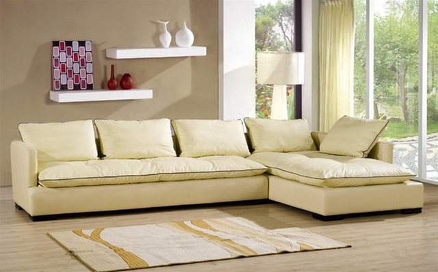 Modern Cream Leather Sectional Sofa