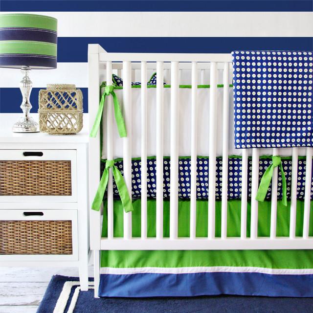 Preppy Navy Boy Crib Bedding Set Modern Baby Bedding