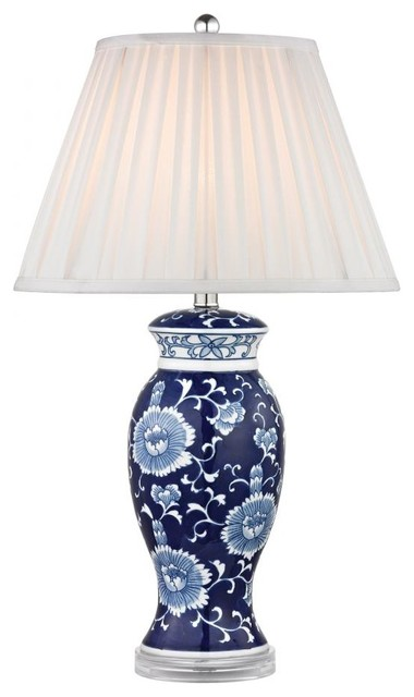 One Light White Faux Silk Shade Blue And White Hand Paint Table Lamp traditional-table-lamps