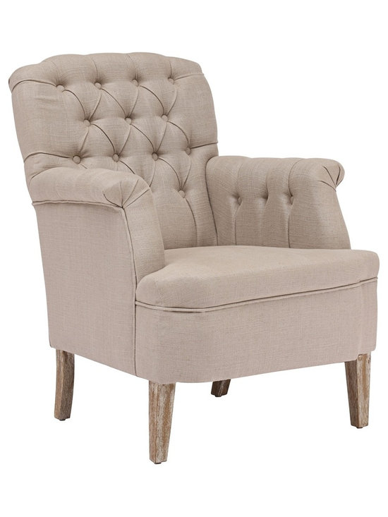 """Zuo - Zuo Castro Beige Armchair - Solid elm wood armchair. Wrapped in a beige linen fabric. Gentle curved design with tufted back. A chic addition to your home from Zuo Modern. 24 1/2"""" wide. 32 3/4"""" deep. 39"""" high. Seat is 16 3/4"""" wide 23 3/4"""" deep and 18"""" high. Arms are 26 3/4"""" high. Fully assembled.  Solid elm wood armchair.  Wrapped in a beige linen fabric.  Gentle curved design with tufted back.  A chic addition to your home from Zuo Modern.  24 1/2"""" wide.  32 3/4"""" deep.  39"""" high.  Seat is 16 3/4"""" wide 23 3/4"""" deep and 18"""" high.  Arms are 26 3/4"""" high.  Fully assembled."""