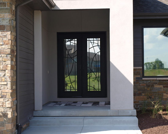 """Contemporary Door - 72"""" x 96"""" Black with clear glass"""
