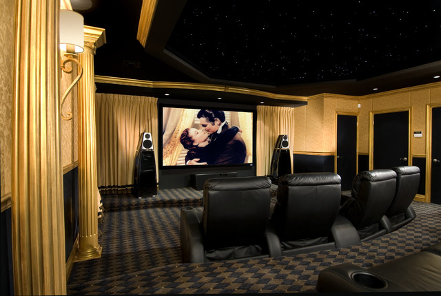 art deco with a twist traditional home theater new york. Black Bedroom Furniture Sets. Home Design Ideas