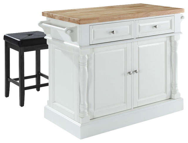 Kitchen Island With Square Seat Stools In Whi