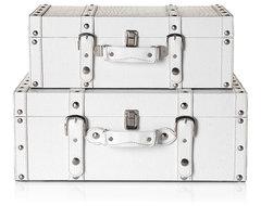 Stylish White Veneto Suitcases traditional-decorative-trunks