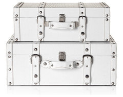 Stylish White Veneto Suitcases traditional storage boxes
