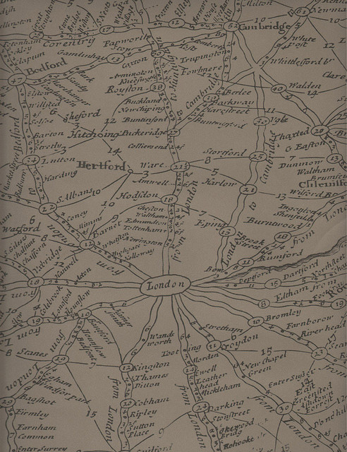 Vintage Masculine London Map Wallpaper - Coffee transitional-wallpaper