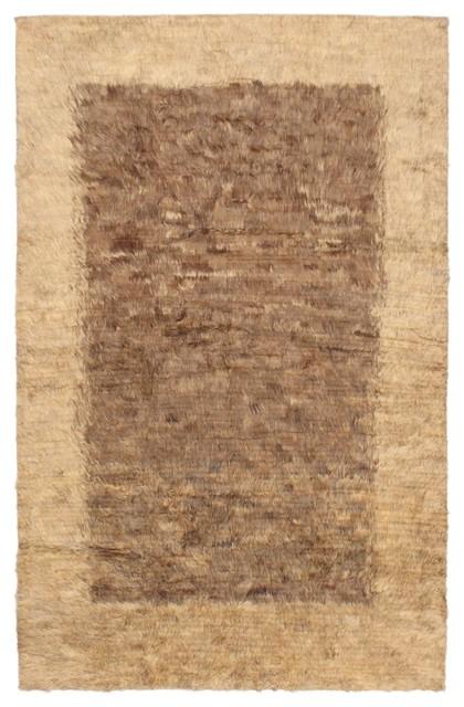 "Hand-knotted Rabat Brown Wool Rug 5'2"" x 8'2"" modern-rugs"