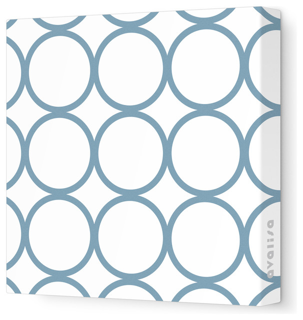 """Pattern - Circles Stretched Wall Art, 28"""" x 28"""", Blue Gray contemporary-kids-decor"""