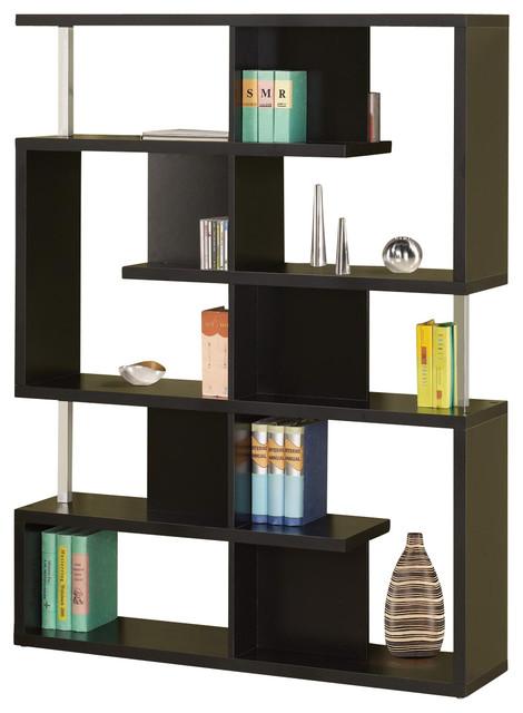 /Black Finish Bookcase w/ Compartments Chrome Support Beams, Black ...