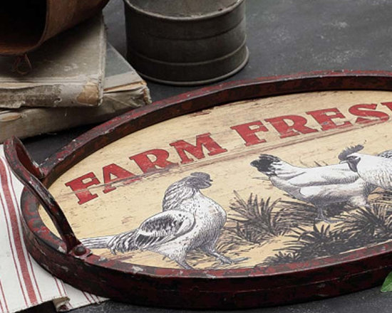 Metal & Wood Farm Fresh Tray - Let guests receive your assurance that the meal being served came directly from the dairy case with this farm fresh tray. Wood base is wrapped in iron with large, totable handles.