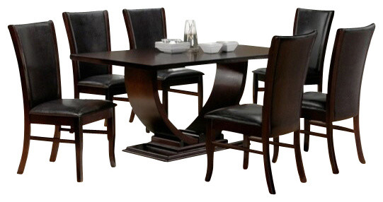 7 piece isabella collection espresso dining table set for Decor 7 piece lunch set