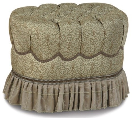Marbella Laurent Spa Oval Tufted Ottoman modern ottomans and cubes