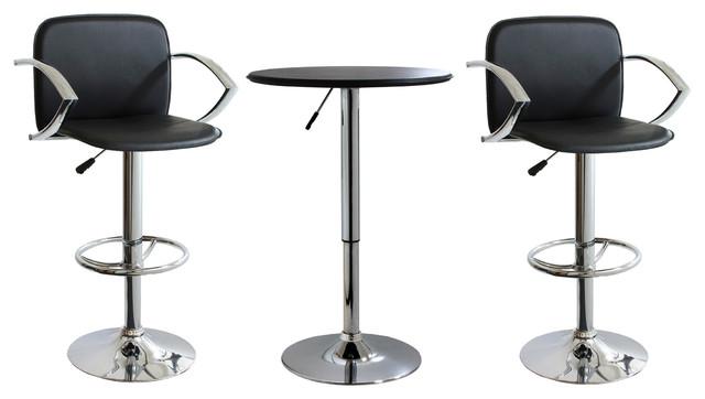 AmeriHome 3 Piece Adjustable Height Bar Set modern-dining-sets
